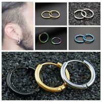 Punk Men's Stainless Steel Women's Tube Ear Studs Hoop Huggie Earrings Jewelry