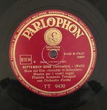 "RARE 78RPM 10"" PARLOPHON ARMANDO TROVAJOLI SEPTEMBER SONG / E' L'ALBA KURT WEILL"