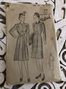 "Butterick 1940s Coat Pattern - Unused. 32"" Bust"
