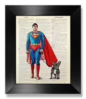 Superman Poster French Bulldog Wall Art Frenchie Kids Room Decor Dog Lover Gift
