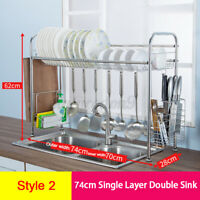 64/84CM Over Sink Dish Drying Rack Stainless Steel Kitchen Cutlery Shelf Holde