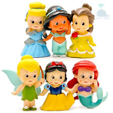 6pcs Disney Princess Dolls Character Figures Toy Miniature Cake Toppers