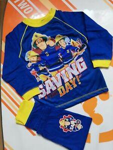 Boys Fireman Sam Pyjama Set Blue Pjs size3-4years new cotton nightwear sleepwear