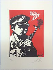 Shepard Fairey CHINESE SOLDIER Letterpress print poster obey giant dove peace