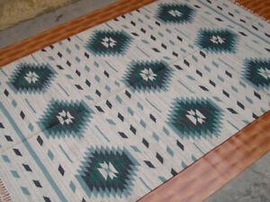 Afghan Rug Oriental Area Rug Wool 5x8 ft Carpet Mat Green Kilim Rug Hand Woven