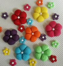 Rainbow cupcakes flowers Edible sugar paste cake topper Cupcakes birthday