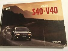 VOLVO S40 & V40 OWNERS MANUAL DRIVERS HANDBOOK 1998 PETROL DIESEL + TURBO MODELS