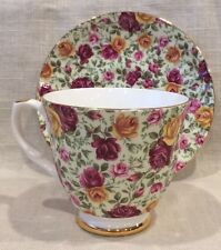 Mayfair Fine Bone China Set Staffordshire England Cup Green/red Yellow Roses