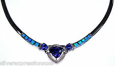 """Tanzanite & Blue Fire Opal Inlay Genuine 925 Sterling Silver Omega Necklace 18"""""""