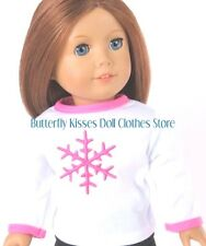 Pink Snowflake T-Shirt Fits 18 in American Girl Doll Clothes