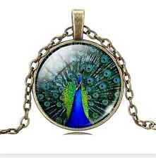 Vintage Peacock Cabochon Tibetan Bronze Glass Chain Pendant Necklace NEW