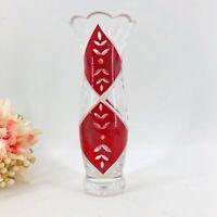 """Lenox Crimson Splendor Vase Red Cut Glass Leaf Design 9"""" Hand Painted Etched"""