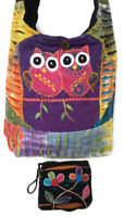 HOBO BAG & COIN PURSE Owls Patchwork Hippie Cross Body Sling RISING INT'L Nepal