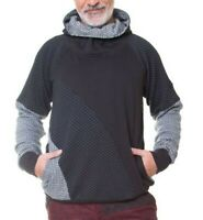 G-8915-M Chapati Pullover Hoodie Bio-Baumwolle Gr.L - XXL Schwarz-Grau Mustermix