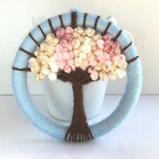 Handmade Wool woven tree hanging hoop art spring blossom tree weaving