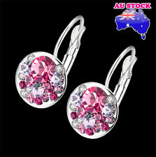 18K White Gold Filled Elegant Pink Colorful Earrings Round Swarovski Crystals