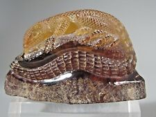 Rare Faux Amber Carving of a Lizard on a Rock Marked on Base ca. 20th century