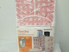 Vintage Universal Brand Closet Bag Suit Length Holds 16 Suits Pink & White Nos