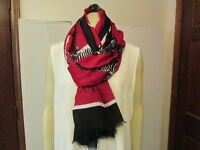 Red and Black Safari Zebra Scarf by Mud Pie, Extra Large, NWT