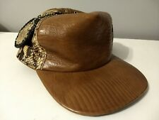 Leather And Snake Skin Brown Hat Cap - Unique snakeskin