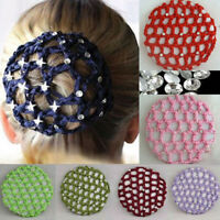 Women Crochet Hair Bun Cover Snood Rhinestone Ballet Dance Net Headwear Gift