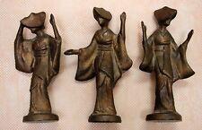 MID CENTURY ** ASIAN  JAPANESE * METAL *  3  GEISHA GIRLS * HEAVY FIGURINES