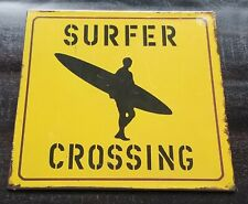 "Metal/Tin Sign or Wall Decor ""Surfer Crossing"" Distressed Looking, 9.25"" Square"