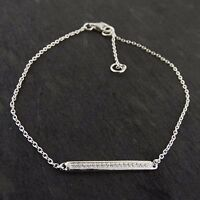 Cubic Zirconia Bar Bracelet - 925 Sterling Silver Cable Chain Bracelets CZ NEW