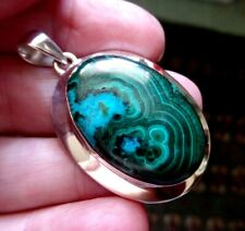 Striking Chunky Sterling Silver and Malachite in Chrysocolla Pendant 18.1g