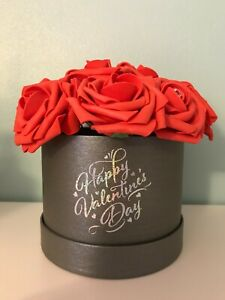 12 Red Rose in a Grey Hat Box with Acrylic Crystal Pins  Valentines Love Gift