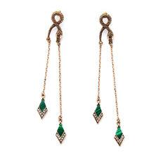 Vintage Style Bronze Snake Long Crystal Dangle Stud Earrings Drop