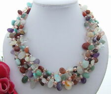 S040608 5Strds Crystal Jasper Torsade Necklace