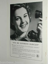 1940 Bell telephone ad, Lady with telephone handset