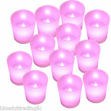 12 X Pink Mood Color Flameless Led Lights Votive Candle Tea Light Candles New