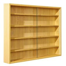 Display Cabinet Storage Wood Shelves Glass Fronts Wall Collection Trophie Medals