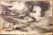 FRANTZEN Gustave (1863-1938) Beau Dessin à l'encre Paysage Marin 12,3 x 19,3 cm