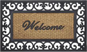 """Outdoor Floor Welcome Mat Rubber Door Mat 18 by 30"""" Black And Brown NEW"""