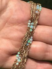 SG MERMAID 14k Yellow Gold Australian Jelly Opal By-the-Yard Necklace**VIDEO**