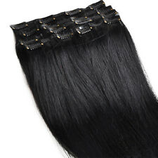 100% Remy Real Human Hair Extensions Full Head Clip #1 Black Hair Beauty Styling