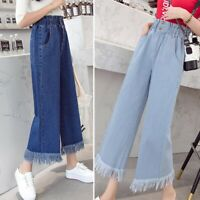 Women's Loose High Waist Wide Leg Culottes Fashion Jeans
