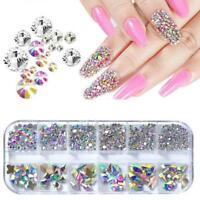 3D Nail Art Strasssteine Mix Crystal AB FlatBack Glitter Tips Diamonds V6W7