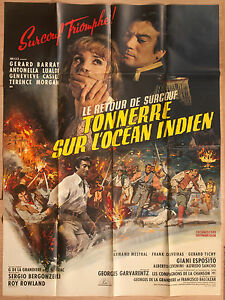 """'TONNERRE SUR L'OCEAN INDIEN' FRENCH VINTAGE 1966 CINEMA POSTER  63"""" x 47"""""""