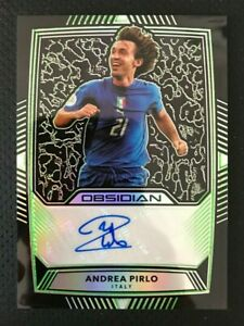 2019-20 Panini Obsidian Andrea Pirlo Obsidian Autograph Green #3/10 Italy SP