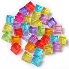 500pcs Mixed Color Plastic Squares Charms Spacer Beads Fit Jewellery Wholesale C