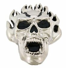 Skull Flaming Men Women Belt Buckle Silver Metal Gothic Tribal Western Halloween