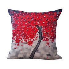 destockage housse de coussin neuve en lin tissé imprimé arbre à fleurs rouges