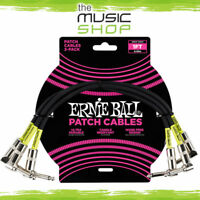 New Ernie Ball 1ft Angle/Angle Black Guitar Patch Cable (3 Pack) - 6075