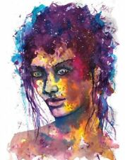 Original woman painting abstract face women portrait watercolour fantasy art