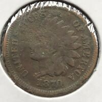 1870 Indian Head Cent 1c One Penny Circulated Damaged #10849