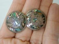 Vintage Mexican Sterling Silver Earrings Abalone Inlay Screwbacks 1940s Signed